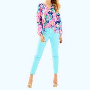 new Lilly Pulitzer Kelly Ankle Pant Seasalt Blue 8